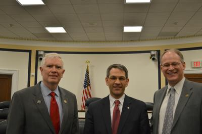 Rep. Mo Brooks, AHS Director Mike Hirschberg, and Rep. Mark Critz