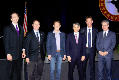 Left-to-right in the photo are Glenn Isbell, EVP, Bell Helicopter; Dave Koopersmith, VP/GM, Boeing Vertical Lift; Jeff Holden, Chief Product Officer, Uber; Mike Hirschberg, Executive Director, AHS; Jean-Brice Dumont, EVP/CTO Airbus Helicopters; and Daniele Romiti, Managing Director, Leonardo Helicopters. (Not shown, Mark Miller, VP, Engineering at Sikorsky, who was awarded an AHS Honorary Fellowship.)