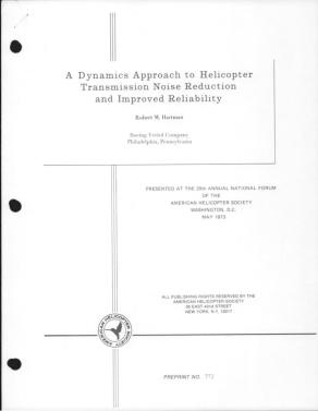 A Dynamics Approach to Helicopter Transmission Noise Reduction and