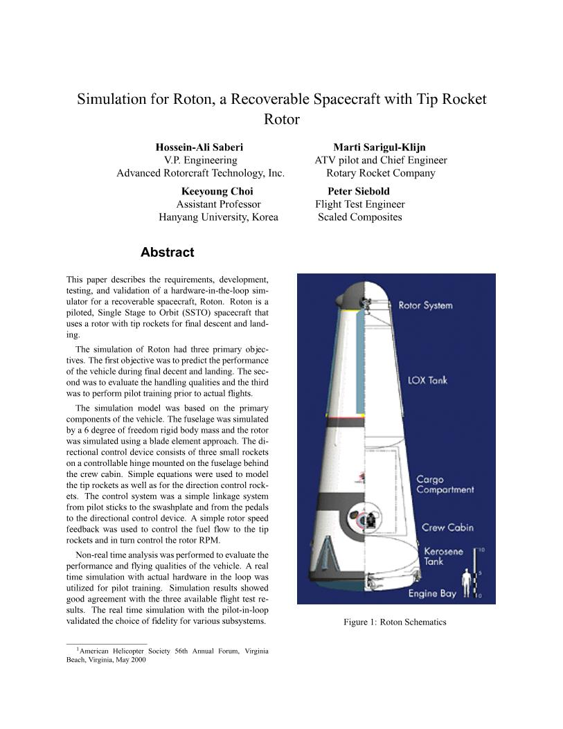Simulation for Roton, a Recoverable Spacecraft with Tip