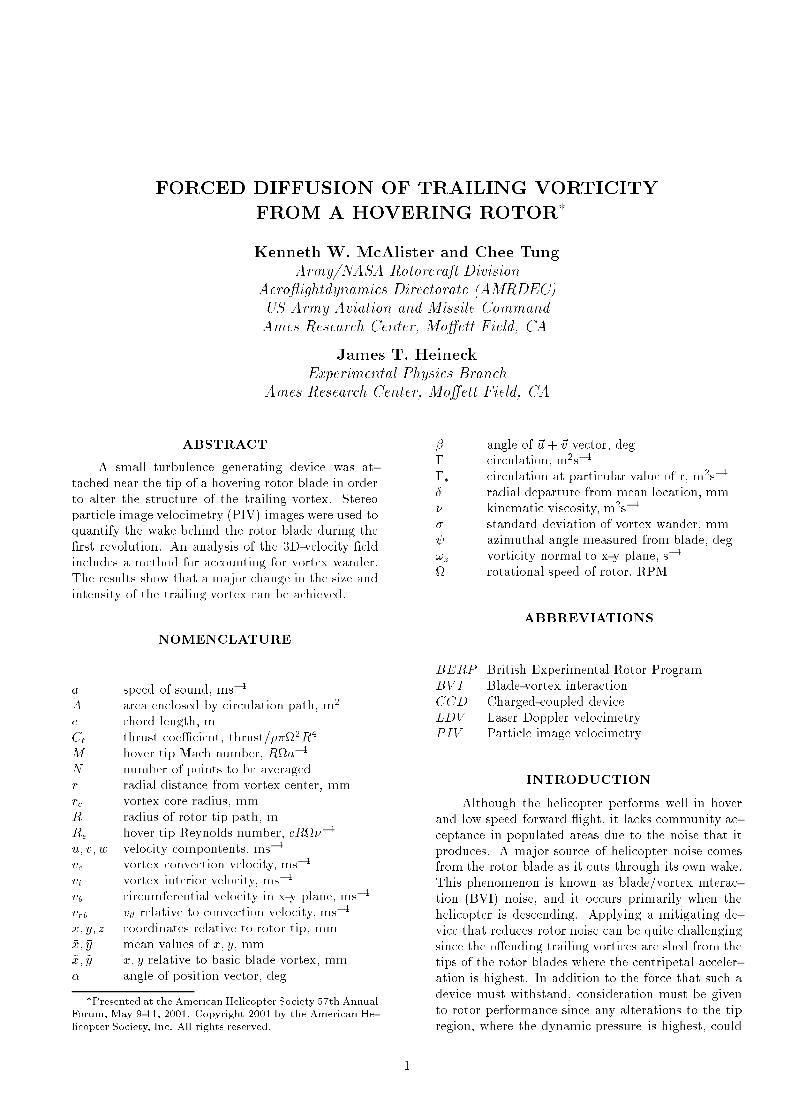 Forced Diffusion Of Trailing Vorticity From A Hovering Rotor