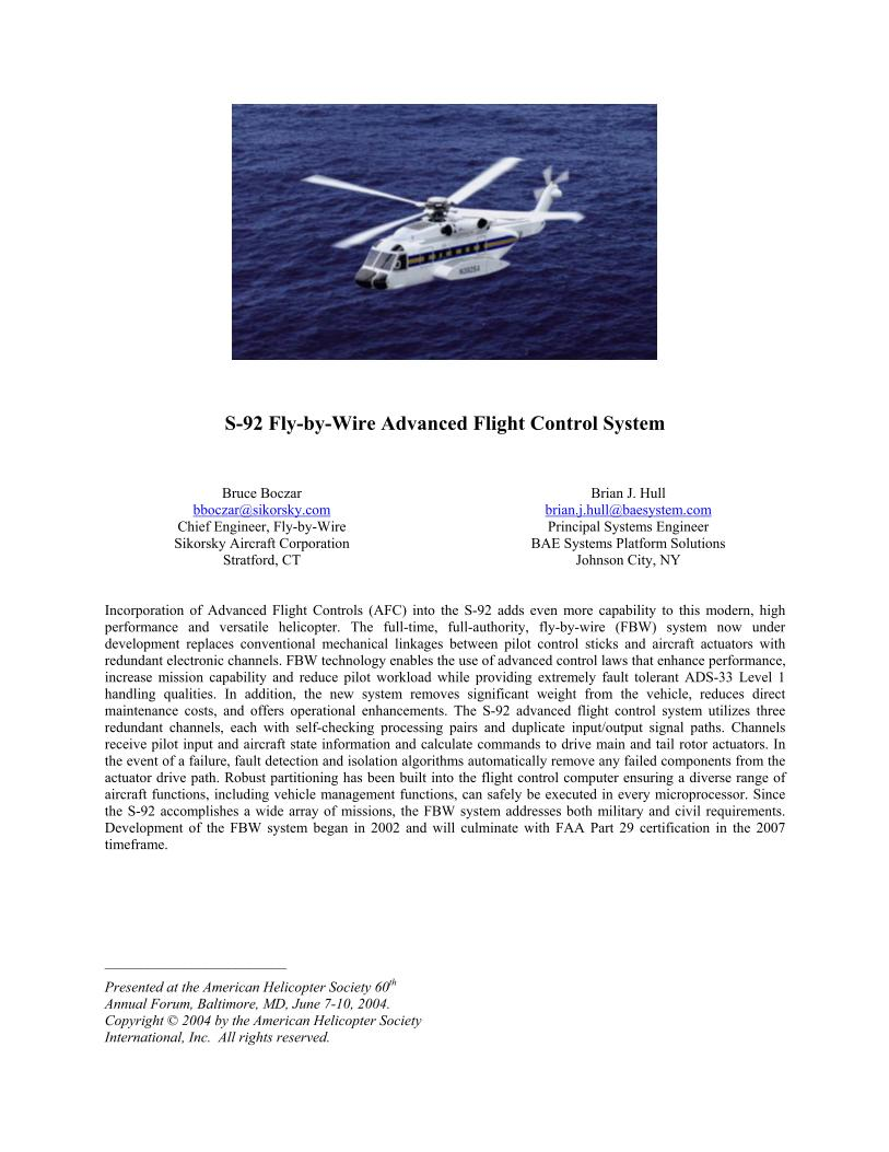 S-92 Fly-by-Wire Advanced Flight Control System - The Vertical ...