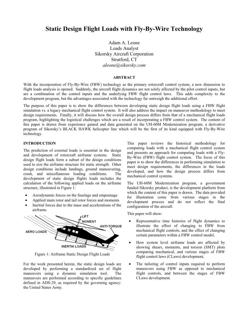 Static Design Flight Loads with Fly-By-Wire Technology - The ...