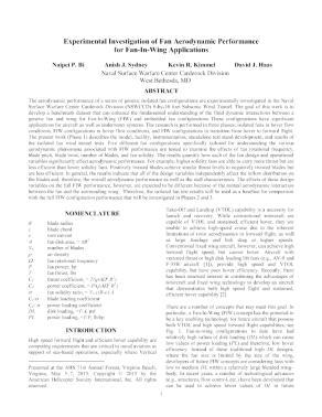 Experimental Investigation Of Fan Aerodynamic Performance For Fan In