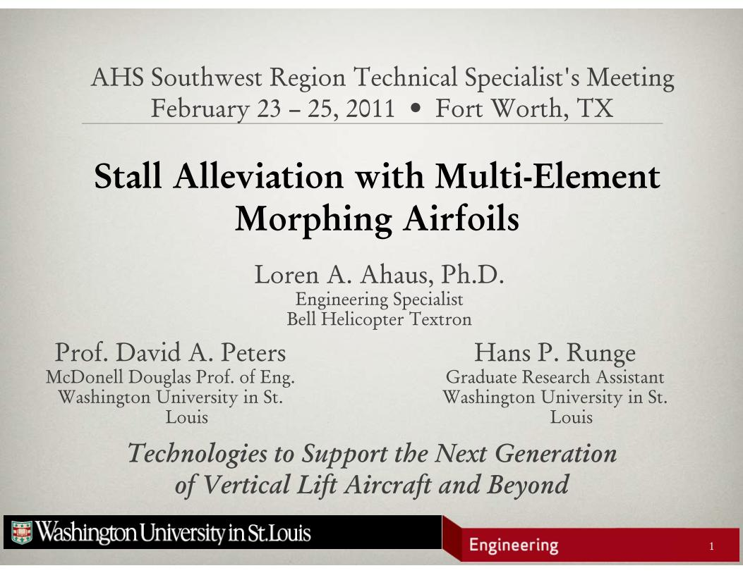 Presentation: Stall Alleviation with Multi-Element Morphing