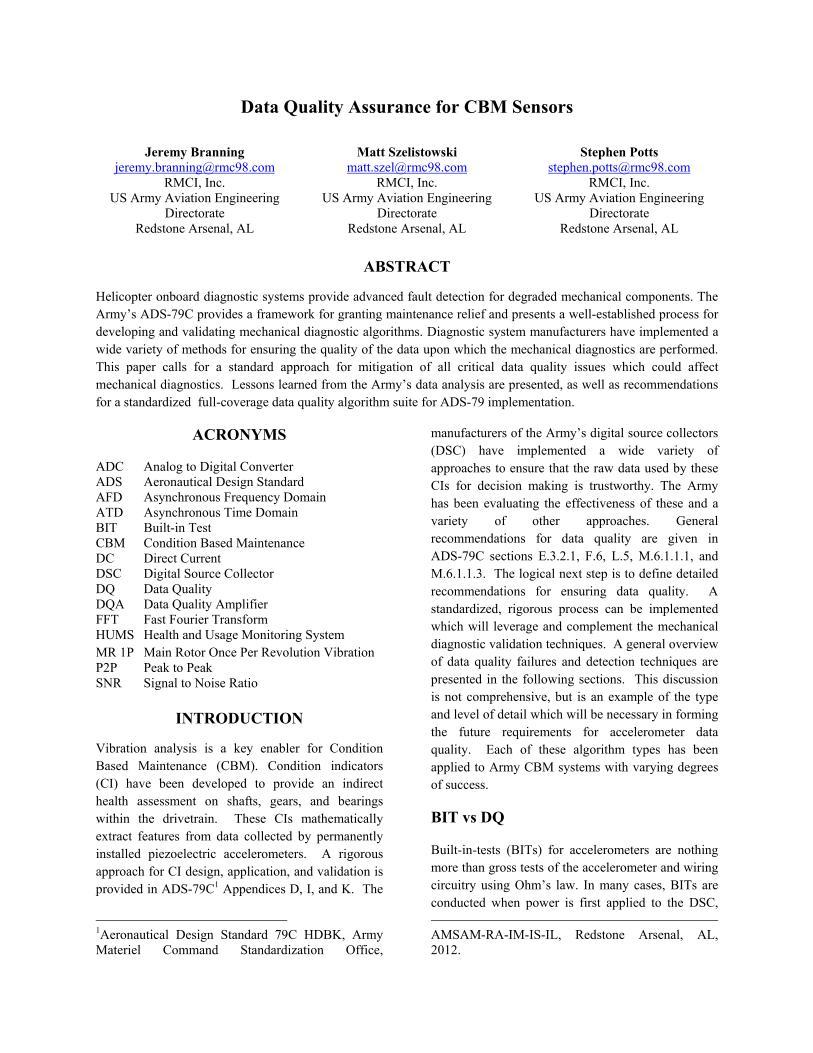 Data Quality Assurance for CBM Sensors - Vertical Flight Library & Store