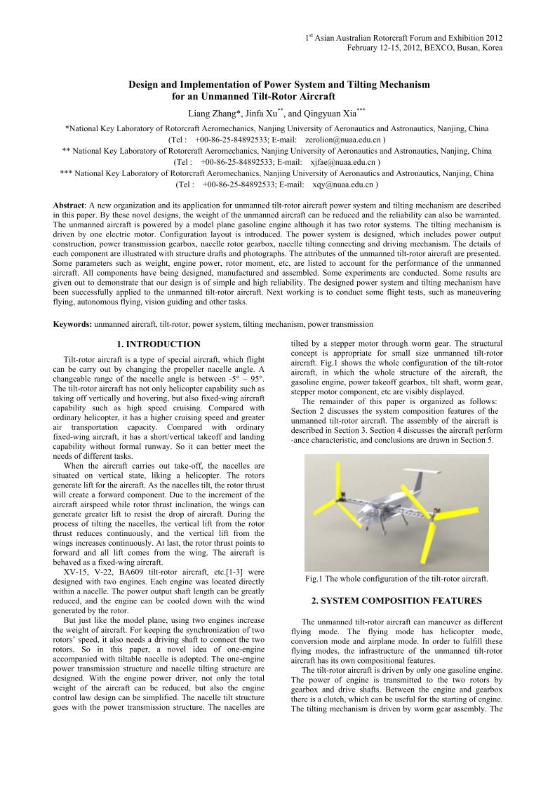 Design and Implementation of Power System and Tilting