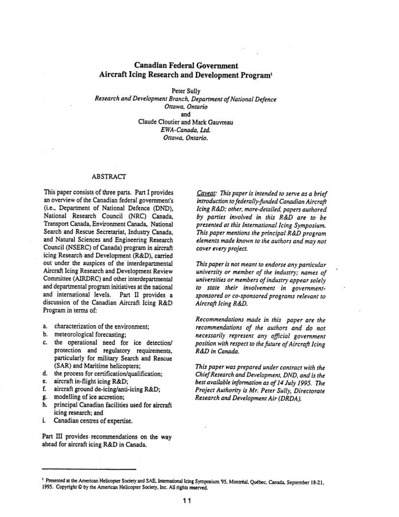 Canadian Federal Government Aircraft Icing Research and