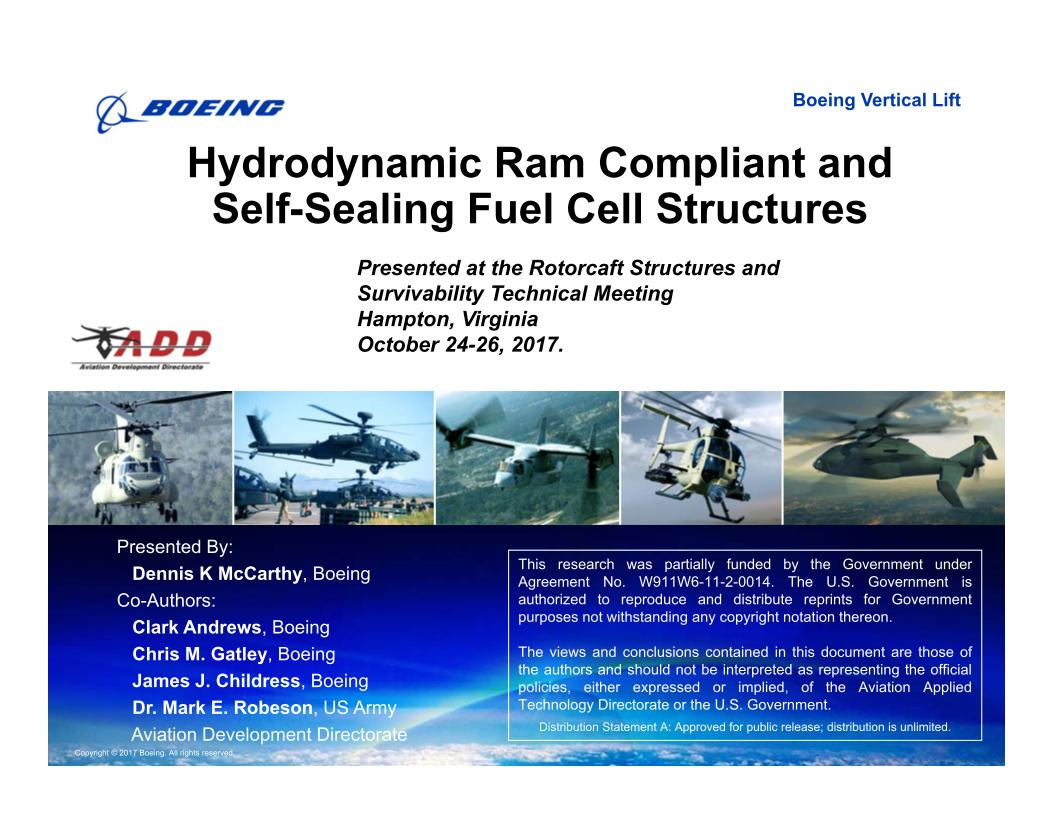 Hydrodynamic Ram Compliant and Self-Sealing Fuel Cell Structures