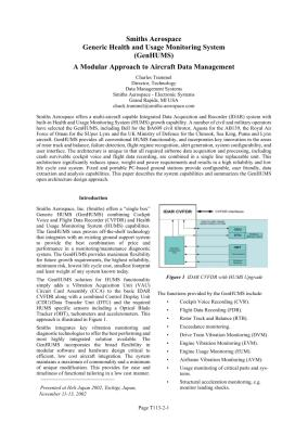 Integrated Airplane Health Management System